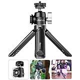 U-Vlog Mini-Kamerastativ, erweiterbares Selfie-Stick-Stativ mit Dual-Blitzschuh und 1/4-Zoll-Schraube, Griff für Gopro/DJI Osmo Action/Pocket/Sony/Canon/Nikon DSLR-Kamera