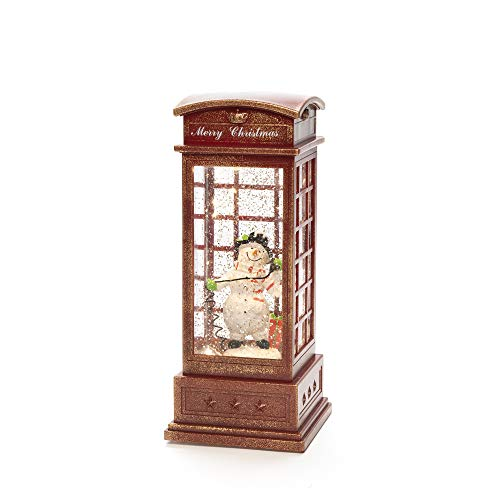 Konstsmide, 4367-550, LED Telefonzelle mit Schneemann, wassergefüllt, 5h Timer, 1 warm weiße Diode, batteriebetrieben, Innen