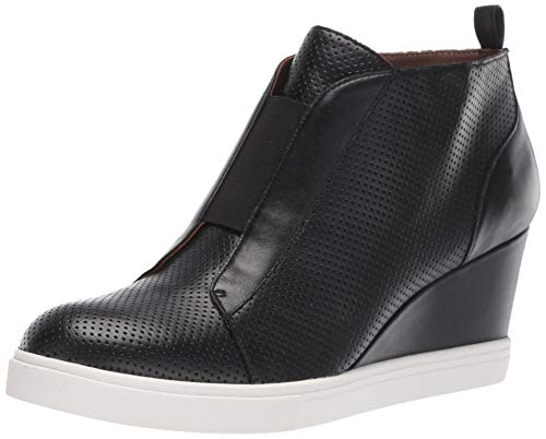 Felicia - Our Original Platform Wedge Sneaker Bootie Black Perforated Leather 5.5M