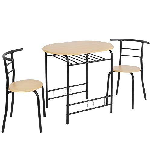 Bonnlo 3 Piece Dining Table Set Breakfast Bistro Pub Table with 2 Chairs Compact Size Table and 2 Chairs (Natural)
