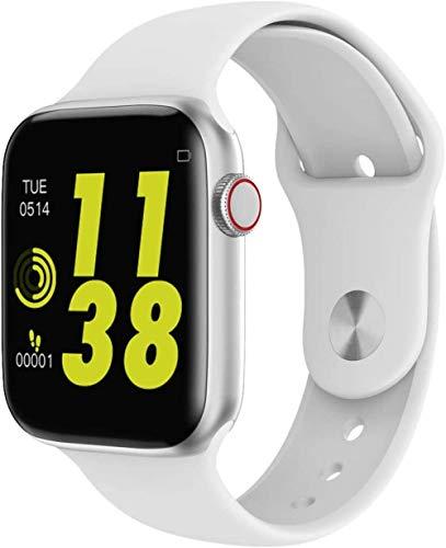 JSL Reloj inteligente Bluetooth para iPhone con podómetro – Actividad Fitness Tracker con monitor para mujeres, hombres y niños, compatible con iPhone Android, color blanco