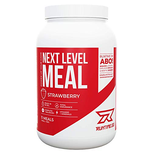 Runtime Next Level Meal - Full Meal Replacement for Long-Lasting Satiation, Energy, Concentration and Performance, with Vitamins and Nutrients (Strawberry)
