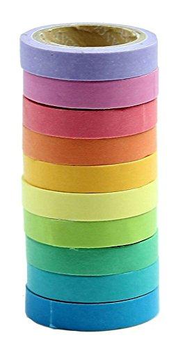 Demarkt 10 cintas adhesivas decorativas de papel con diseño de arcoíris