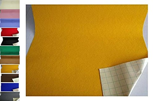 StoffBook EDEL BASTELFILZ FILZSTOFF SELBSTKLEBEND 100CM BREIT STOFF STOFFE, C353 (GELB)