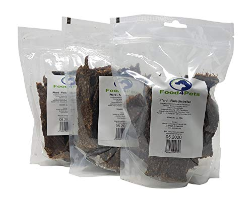 Food4Pets 3 X 250g Fleischstreifen Hundeleckerli aus Pferdefleisch – leckere Kaustreifen für Hunde