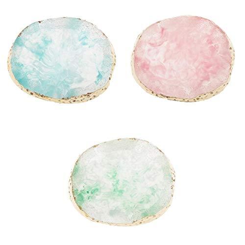 joyMerit Lot De 3 Simuler La Résine Agate Slice Palette Nail Art Color Mixing Pad DIY