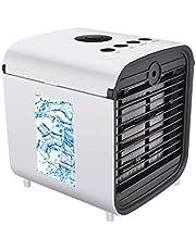 Nifogo Air Mini Cooler, 3-in-1 mobiele airconditioner, luchtbevochtiger, luchtreiniger en desktop airconditionerventilator, met 7-kleuren LED-verlichting, nieuw lekvrij filter, er kunnen Meerdere Modi Worden Geselecteerd
