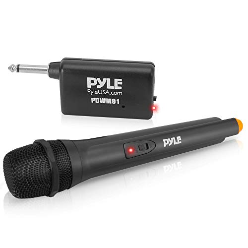 Portable VHF Wireless Microphone System - Professional Battery Operated Handheld Dynamic Unidirectional Cordless Microphone Transmitter Set W/Adapter Receiver, for PA Karaoke DJ Party - Pyle PDWM91