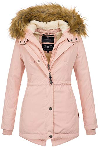 Marikoo Designer Damen Winter Parka warme Winterjacke Mantel Jacke B601 [B601-Akira-Rosa-Gr.L]