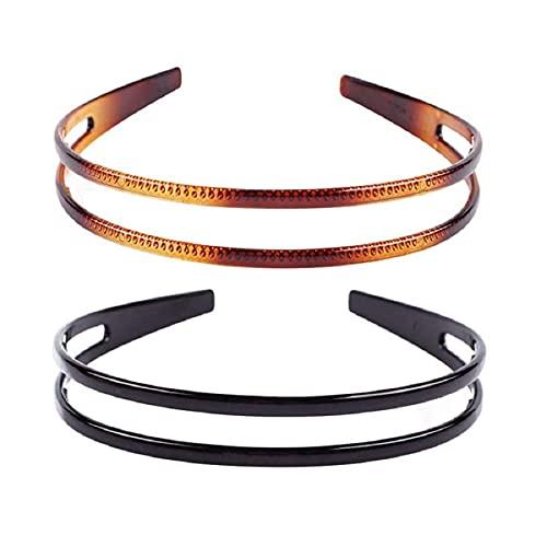 Lurrose 2 Stück Hartplastik-Stirnband, zweireihig, minimalistische Zähne, Kamm für Frauen (schwarz und braun)