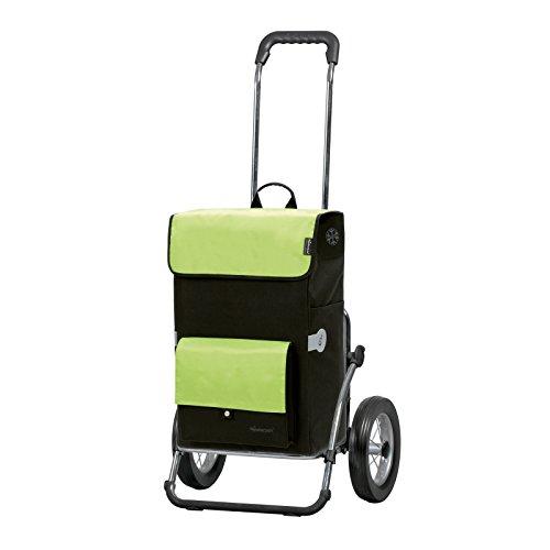 Andersen Einkaufstrolley Royal Stahlgestell klappbar mit Metallspeichenrad 25 cm und 45 Liter Einkaufstasche Asta schwarz/grün mit Kühlfach