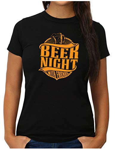 OM3® Bier T-Shirt | Damen | Beer Drinking Party Kneipentour | M, Schwarz