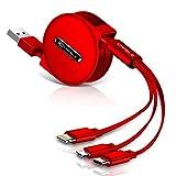 CAFELE iphone 充電ケーブル/Micro USB ケーブル/Type-C ケーブル【1.2m】 3in1充電ケーブル 巻き取り式 ライトニングケーブル iPhone・Android・Type-C三用 伸縮式 絡み防止 (レッド)