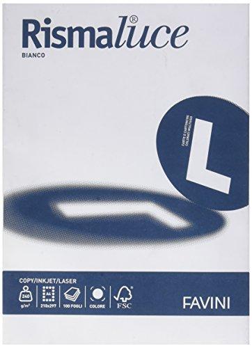 Favini A670124 Carta Rismaluce, A4, 240 G/Mq, 266 µm, 100 Pezzi