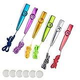 Sinblue - Set de 6 colores de Kazoo, con lanyards y 6 membranas de kazoo, instrumentos musicales, acompañante para guitarra, ukelele, violín, teclado de piano para los amantes de la música infantil