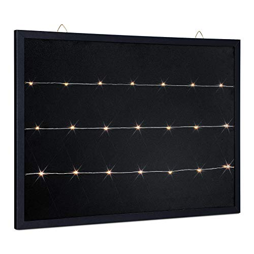 """Navaris LED Photo Clip Chalkboard - 20"""" x 28"""" Chalk Board with Peg String Lights to Hang on Wall - Blackboard with Frame for Picture Display - Black"""