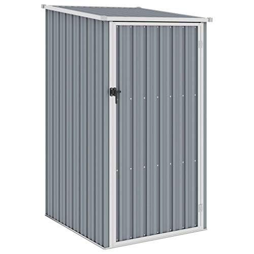 vidaXL Garden Shed Outdoor Tool Equipment Furniture Protection Storage House Sloping Design Roof Weather-Resistant Grey...