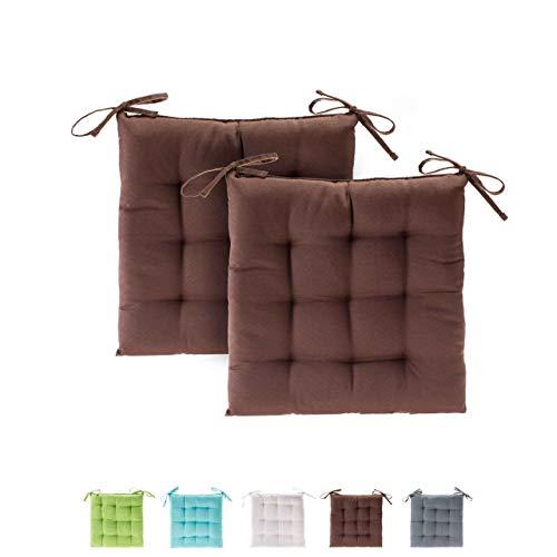 etérea Basic Sitzkissen, Stuhlkissen mit Bändern - für Innen- und Außenbereich geeignet, Sitzpolster Auflage für Haus und Garten - 2er Set - 40x40 cm, Braun