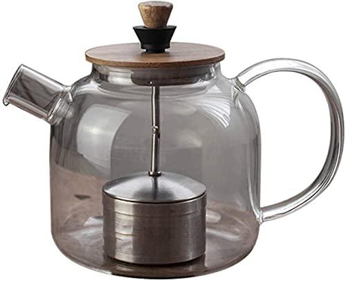 FHISD Hervidor Tetera de Vidrio Resistente al Calor de 1000 ml y Filtro de Acero Inoxidable Taza de té 1yess