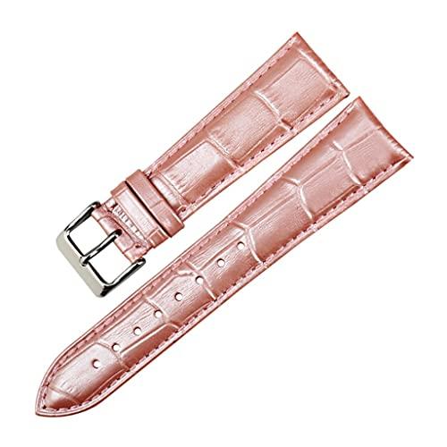 YSMLL Correas de reloj de moda Correa de reloj de cuero genuino rosa 12mm-22mm para mujer Correa de reloj para pulsera de reloj (Color : Pink, Size : 12mm)