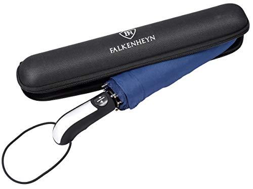 Falkenheyn Regenschirm Sturmfest Taschenschirm mit voll-automatischer Auf Zu Automatik und Hardcase Windfest Marine
