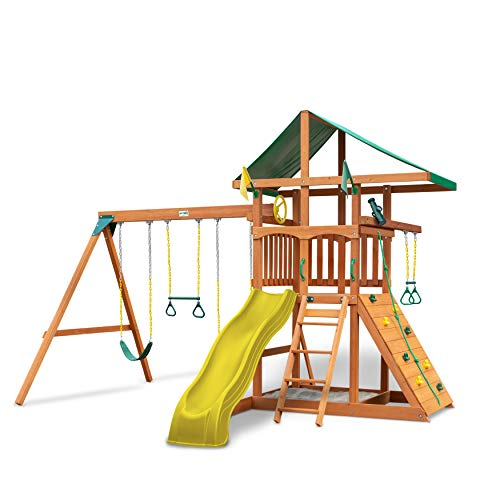 Gorilla Playsets 01-1064-Y Outing Wood Swing Set with Green Vinyl Canopy and Trapeze Arm - Yellow Slide