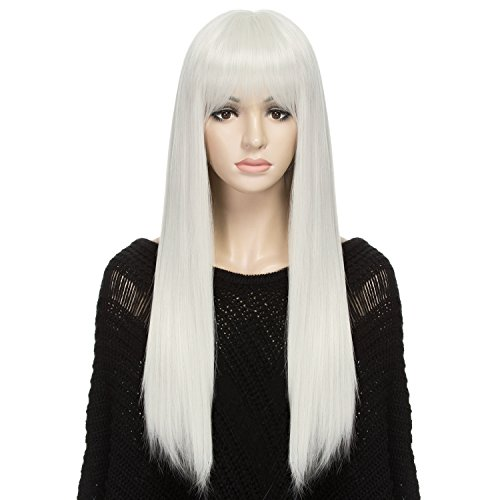 DAOTS Wig 24-Inch Straight Cosplay Synthetic Wig for Women (Silver White)