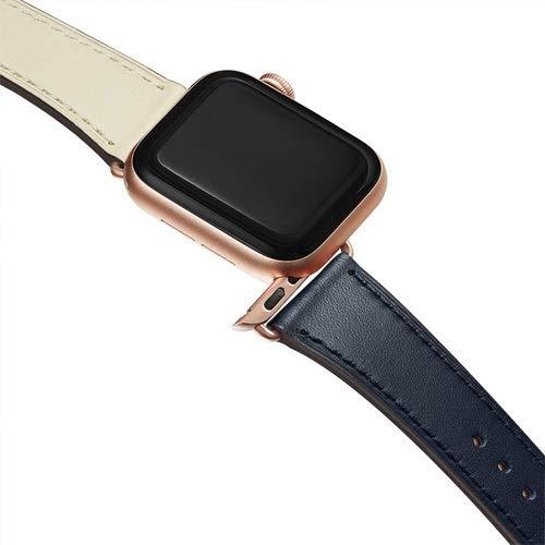 LITOSM Correa Reloj,Watch Straps Correa de Bucle de Cuero Genuino para Banda de Reloj 42mm 44mm 38mm 40mm Reloj de Reloj para Ver 6 5 4 3 2 1 44 mm 42 mm (Band Color : Indigo 2, Band Width : 38mm)