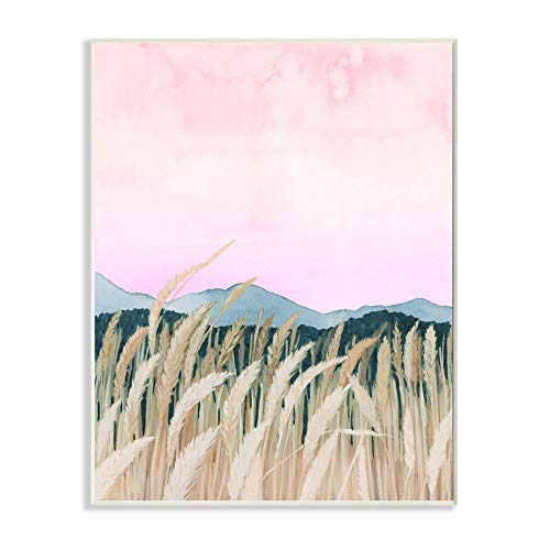 Stupell Industries Wheat Field Dawn Pink Green Watercolor Painting, Design by Grace Popp Art, 10 x 15, Wall Plaque