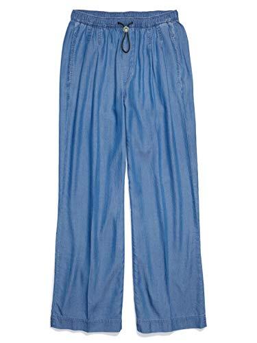 Tommy Hilfiger Women's Adaptive Wide Leg Jeans with Elastic Waist, Medium WASH, 16