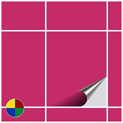 FoLIESEN Fliesenaufkleber 20x25 cm - Fliesen-Folie Bad - Klebefolie Küche - 50 Klebefliesen, Pink matt