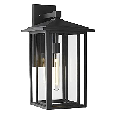 """Zeyu Exterior Wall Sconce, 21"""" Industrial Outdoor Porch Light Fixture for Entryway Garage, Black Finish with Clear Glass Shade, 1951-LG BK"""