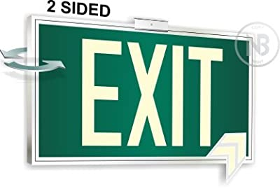 Photoluminescent Exit Sign Green Framed Flag/Ceiling Mount Double Sided. UL 924 Code Approved.
