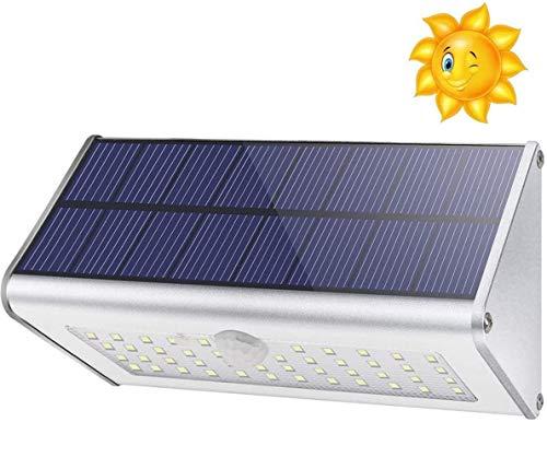 Solarlampen für Außen 1100 Lm 46 LED 4500mAh, Solarwandleuchte, Aluminiumlegierungsschale, Bewegungssensor, drahtloses wasserdichtes Nachtlicht, 4 Smart-Modi (warmweißes Licht)