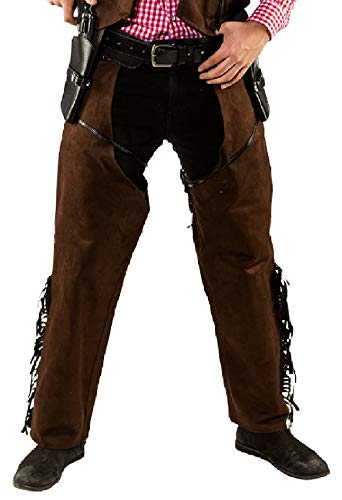 O7352-56-58 braun Herren Cowboy Chaps Wildlederimitat Gr.56-58