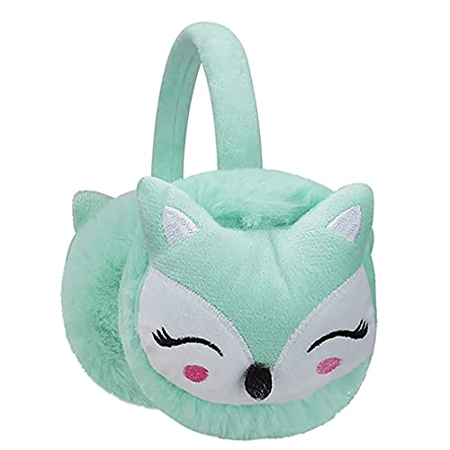 Kids Earmuffs Fox Pattern Ear Warmers Plush Cartoon Ear Protector Fluffy Plush Ear Cover Winter Warm Earmuffs (7-14Y)