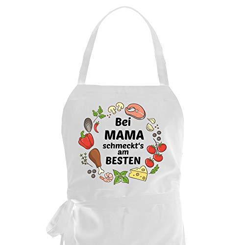 Kochschürze als Geschenkidee für Hobby Köche/Köchin mit dem Spruch: BEI Mama SCHMECKT'S AM BESTEN