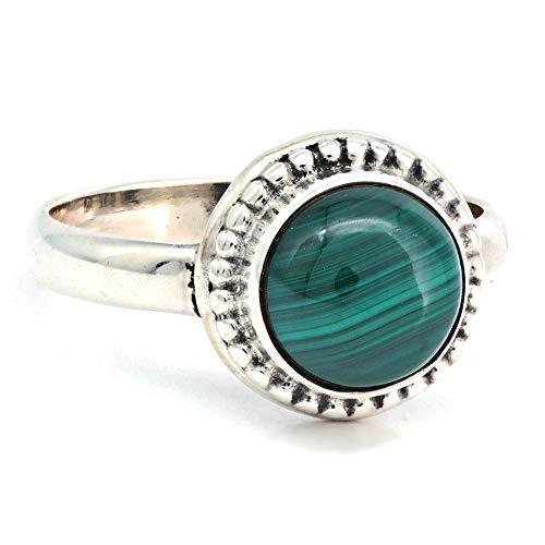 Ring Silber 925 Sterlingsilber Malachit grün Stein (Nr: MRI 193), Ringgröße:52 mm/Ø 16.6 mm