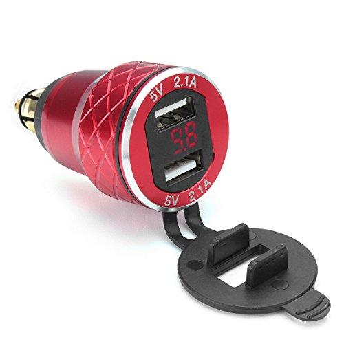 Alamor 12V-24V 4.2A Voltímetro Rojo Motocicleta Dual USB DIN Socket para BMW Moto - Rojo