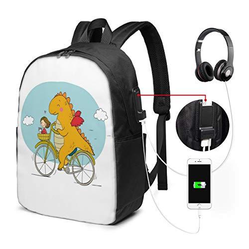 Usicapwear rugzak, Gelukkige Vriendelijke Draak Reiziger Met Een Meisje En Een Kat Kwekerij Cartoon Print