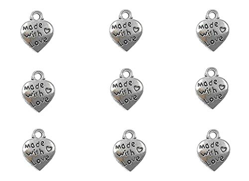 100pcs Made with Love Lettering Charm Peach Heart Shape Double-Side Pendant for DIY Bracelet Necklace Jewelry Making Findings(Silver Tone)