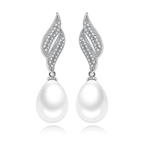 Beydodo Orecchini Argento Donna Pendenti Orecchini Perla per la Sposa Orecchini Lunghi Zircone Cubico Bianco Rotondo