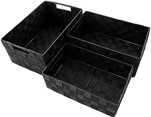 Clay Roberts Aufbewahrungskorb, 3er Pack, Schwarz, groß und mittelgroße, Aufbewahrungsboxen für Badezimmer