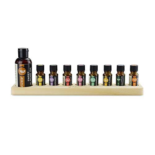Opbergdoos voor etherische oliën met 9 vakken voor etherische olie van hout uit de fles, 9 15 ml olie buiten de opslag van olie olie voor het organiseren van vitrine