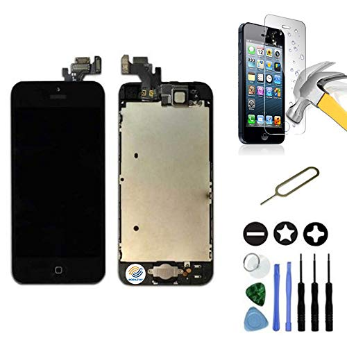 Mobilevie Ecran LCD Retina + Vitre Tactile Tout Assemblé Complet sur châssis pour Iphone 5 Noir + Outils