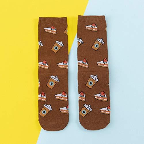 Frauen Socken Lustige süße Cartoon Früchte Banane Avocado Zitrone Ei Keks Donuts Essen Happy Bunte Neuheit Skateboard Socken - 013, One Size