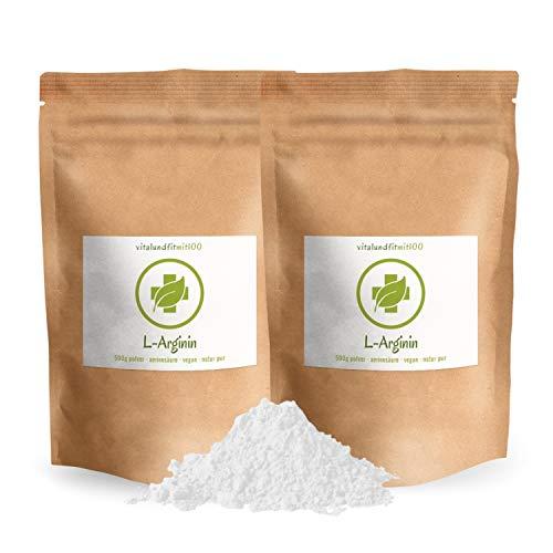 L-Arginin Base Pulver - 1 kg (2 x 500 g) - Aminosäure – in Premiumqualität alt bewährt - pflanzl. Ursprung, gewonnen durch Fermentation – vegan, glutenfrei, laktosefrei - OHNE Hilfs- u. Zusatzstoffe