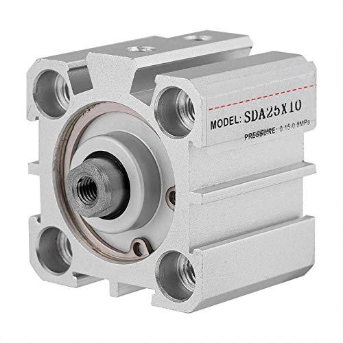 Cilindro de aire, Chacerls SDA25-10 25 mm de diámetro 10 mm de carrera Cilindro de aire neumático de doble acción de aluminio
