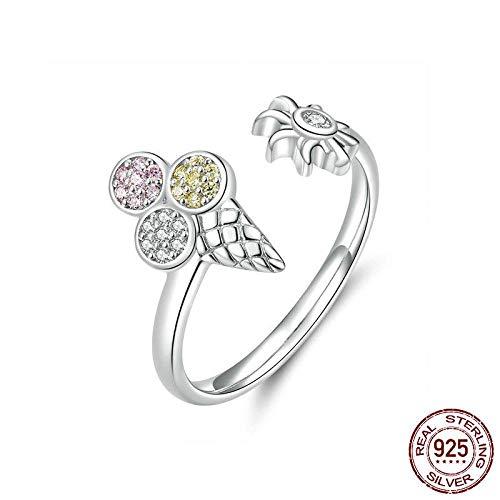 PRAK Damen 925 Sterling Silber Ringe,Sommer EIS Einstellbare Finger Ringe Für Crystal Koreanischer Mode Schmuck Und Veranstaltungsräume Wesentliche Kleidung Passende Geschenk