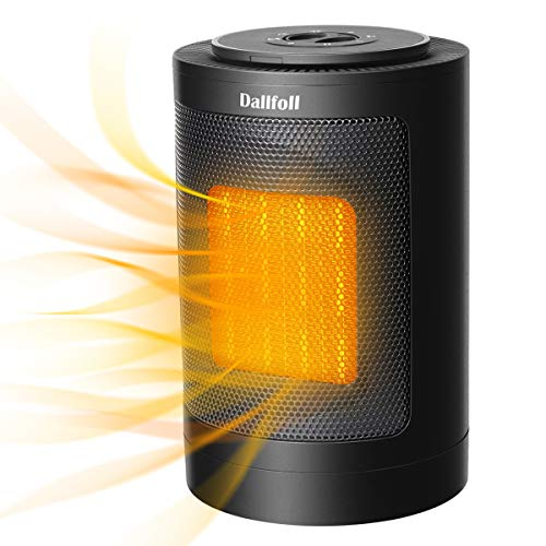 Dallfoll Ceramic Oscillating Space Heater, Portable Indoor Electric Heaters with Adjustable Thermostat, Overheat and Tip-Over Protection for Desk Office Bedroom Home,1500W / 750W